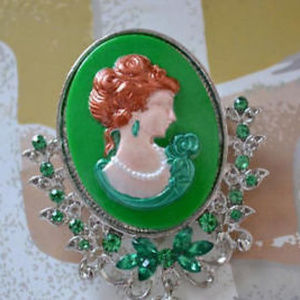 Jewelry - Hand Painted Cameo Brooch w/ Green Rhinestones
